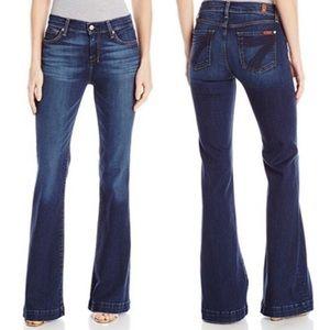 7 For All Mankind Blue Flared Leg Dojo Jeans Sz 28